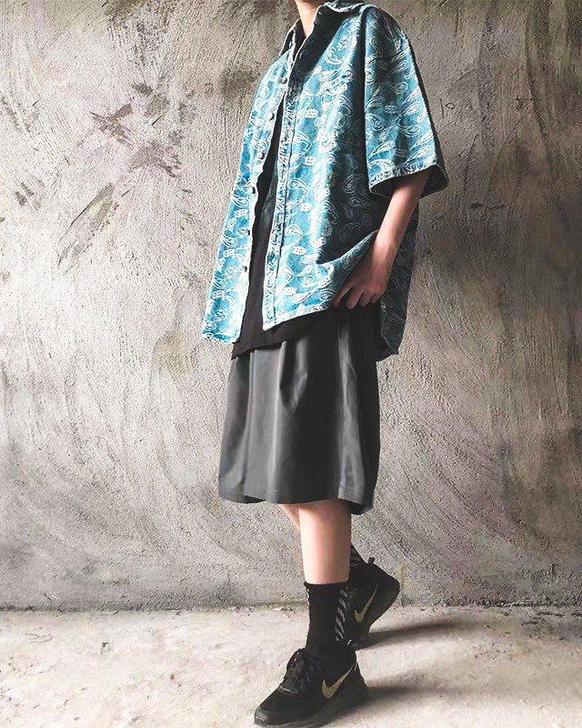 《2色》バンダナ柄ペイズリーデニム半袖シャツの画像3